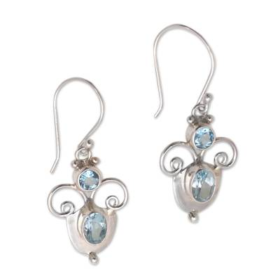 Swirl Motif Blue Topaz Dangle Earrings from Bali