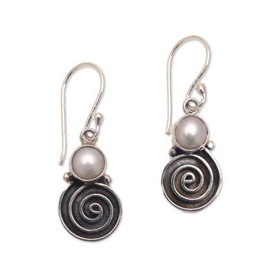Spiral Pattern Cultured Pearl Dangle Earrings from Bali