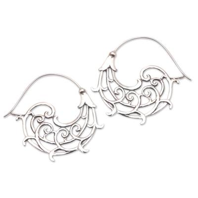 Openwork Swirl Sterling Silver Hoop Earrings from Bali