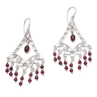 Garnet Chandelier Earrings from Bali