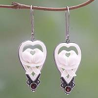 Garnet and bone dangle earrings, 'Dove Couple'