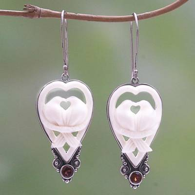Garnet and bone dangle earrings, 'Dove Couple' - Garnet and Bone Dove Dangle Earrings from Bali