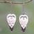 Garnet and bone dangle earrings, 'Dove Couple' - Garnet and Bone Dove Dangle Earrings from Bali thumbail