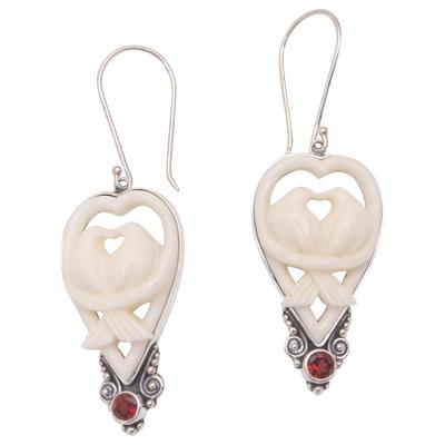 Garnet and bone dangle earrings, 'Dove Couple' - Garnet and Bone Dove Dangle Earrings from Bali