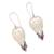 Garnet and bone dangle earrings, 'Dove Couple' - Garnet and Bone Dove Dangle Earrings from Bali (image 2d) thumbail