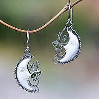 Peridot dangle earrings, 'Bun Moons' - Peridot Crescent Moon Dangle Earrings from Bali