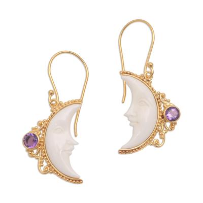 Gold plated amethyst dangle earrings, 'Regal Crescents' - Gold Plated Amethyst Crescent Moon Dangle Earrings from Bali
