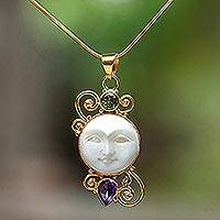 Gold plated amethyst and peridot pendant necklace, 'Round Moon'
