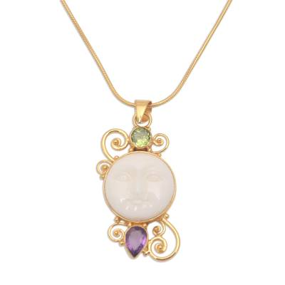 Gold plated amethyst and peridot pendant necklace, 'Round Moon' - Gold Plated Amethyst and Peridot Pendant Necklace from Bali