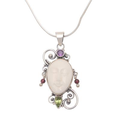 Peridot and amethyst pendant necklace, 'Beautiful Guardian' - Peridot Amethyst and Bone Pendant Necklace from Bali