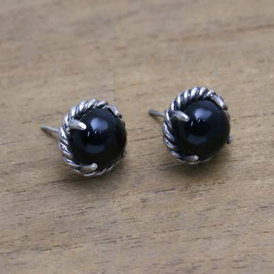 Onyx stud earrings, 'Magnificent Rope' - Rope Motif Onyx Stud Earrings from Bali