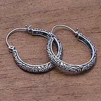 Sterling silver hoop earrings, 'Loop Tradition' - Patterned Sterling Silver Hoop Earrings from Bali