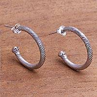 Gold accented sterling silver half-hoop earrings, 'Looping Rope' - Gold Accented Sterling Silver Half-Hoop Earrings from Bali