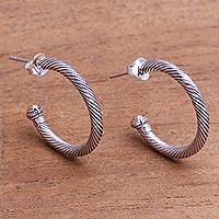Gold-accented sterling silver half-hoop earrings, 'Looping Rope' - Gold-Accented Sterling Silver Half-Hoop Earrings from Bali