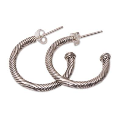 Gold accented sterling silver half-hoop earrings, 'Looping Rope' - Gold Accented Sterling Silver Half-Hoop Earrings from Bali