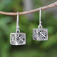 Sterling silver dangle earrings, 'Elegant Dice' - Sterling Silver Cube Dangle Earrings from Bali