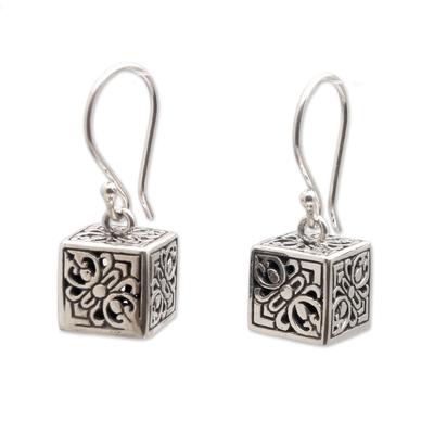 Sterling silver dangle earrings, 'Elegant Dice' - Sterling Silver Cube Dangle Earrings from Bali