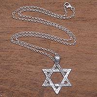 Sterling silver pendant necklace, 'David's Blessing' - Star of David Sterling Silver Pendant Necklace from Bali