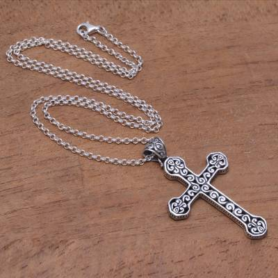 Sterling silver pendant necklace, 'Cross Curls' - Sterling Silver Cross Pendant Necklace from Bali