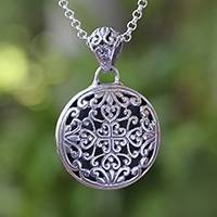 Sterling silver pendant necklace, 'Elegant Medallion' - Sterling Silver Medallion Pendant Necklace from Bali