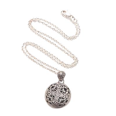 Sterling silver pendant necklace, 'Elegant Medallion' - Sterling Silver Medallion Pendant Necklace from Bali