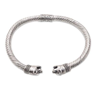 Sterling silver cuff bracelet, 'Bali Cat' - Wild Cat Sterling Silver Cuff Bracelet from Bali