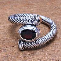 Gold accented garnet band ring, 'Generous Beauty' - Gold Accented Faceted Garnet Band Ring Crafted in Bali