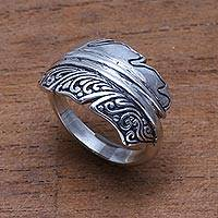 Sterling silver band ring, 'Feather Delight'