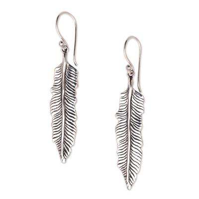 Sterling silver dangle earrings, 'Fallen Feathers' - Sterling Silver Feather Dangle Earrings from Bali