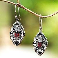 Garnet dangle earrings, 'Glimpse of Beauty' - Faceted Garnet Dangle Earrings from Bali