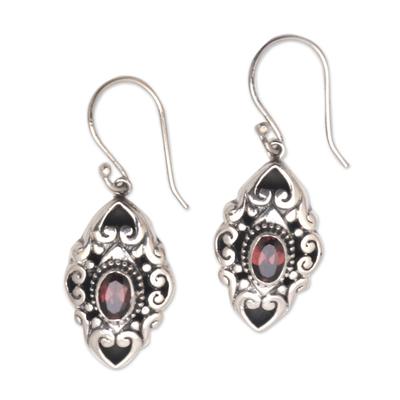 Garnet dangle earrings, 'Glimpse of Beauty' - Faceted Garnet Dangle Earrings from Bali