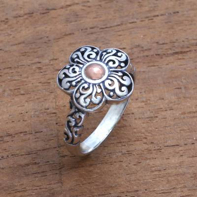 Gold accented sterling silver cocktail ring, Traditional Flower