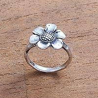 Sterling silver cocktail ring, 'Singular Lotus' - Lotus Flower Sterling Silver Cocktail Ring from Bali