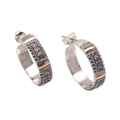 Gold accented sterling silver half-hoop earrings, 'Traditional Curves' - 18k Gold Accented Sterling Silver Half-Hoop Earrings