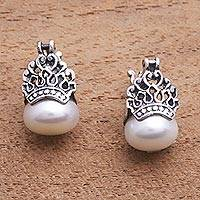 Cultured pearl drop earrings, 'Sukawati Crowns' - Cultured Pearl Drop Earrings Crafted in Bali