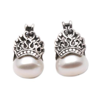Cultured pearl drop earrings, 'Sukawati Crowns' - Cultured Pearl Drop Earrings Crafted in Bali