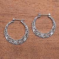 Sterling silver hoop earrings, 'Balinese River' - 925 Sterling Silver Hoop Earrings with Wire and Dot Motifs