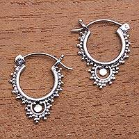 Sterling silver hoop earrings, 'Delightful Bubbles' - Bubble Pattern Sterling Silver Hoop Earrings from Bali