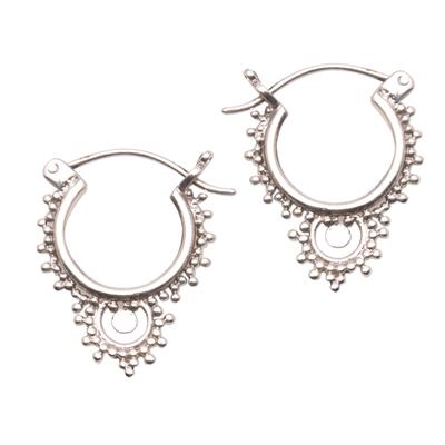 Sterling silver hoop earrings, 'Delightful Bubbles' - Bubble Pattern Sterling Silver Hoop Earrings from Bali