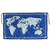Batik cotton wall hanging, 'The World in Royal Blue' - World Map Batik Cotton Wall Hanging in Royal Blue from Bali