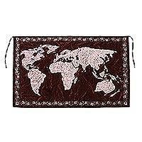 Batik cotton wall hanging, 'The World in Chestnut' - World Map Batik Cotton Wall Hanging in Chestnut from Bali