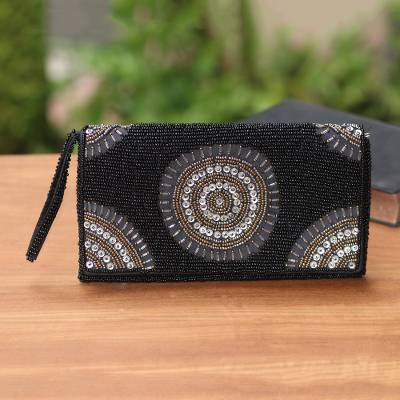 Beaded clutch, 'Circle of Beauty in Black' - Circle Pattern Beaded Clutch in Black from Bali