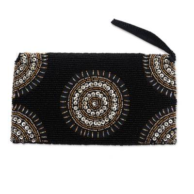 Circle Pattern Beaded Clutch in Black from Bali