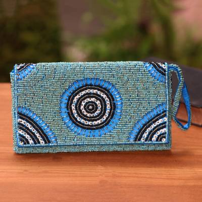 Beaded wristlet, 'Circle of Beauty in Blue' - Circle Pattern Beaded Wristlet in Blue from Bali