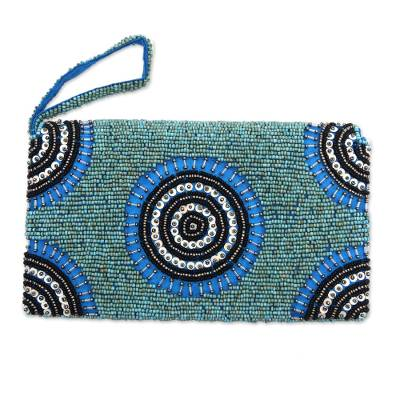 Circle Pattern Beaded Wristlet in Blue from Bali