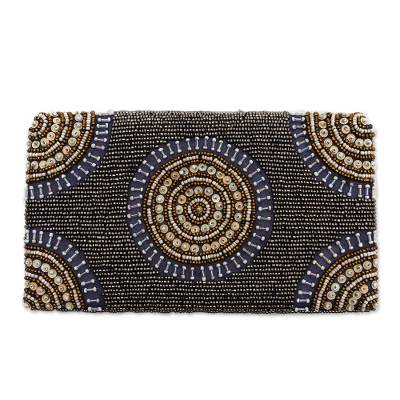 Circle Pattern Beaded Clutch in Grey from Bali