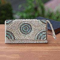Beaded wristlet, 'Circle of Beauty in Beige' - Circle Pattern Beaded Wristlet in Beige from Bali