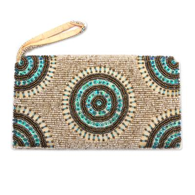 Circle Pattern Beaded Wristlet in Beige from Bali