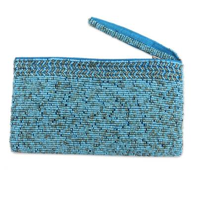 Handmade Plastic Beaded Wristlet in Blue from Bali