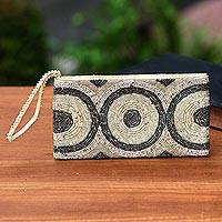 Beaded wristlet, 'Great Circles' - Circle Pattern Beaded Wristlet from Bali